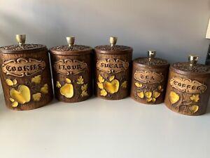 Vintage-Treasure-Craft-Canister-Set-of-5-Coffee-Tea-Sugar-Flour-Cookies-USA
