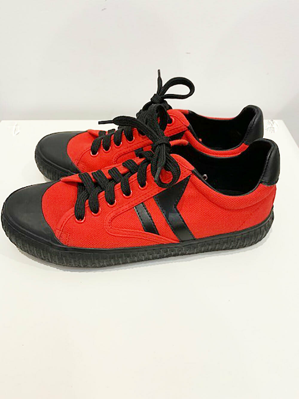 Designer Celine Paris 38 Red Low Top Canvas (Worn For An Hour) Women's Sneakers