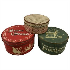 SET-PRIMITIVE-CHRISTMAS-STACKING-METAL-TINS-Vintage-Style-Holiday-Santa-Reindeer