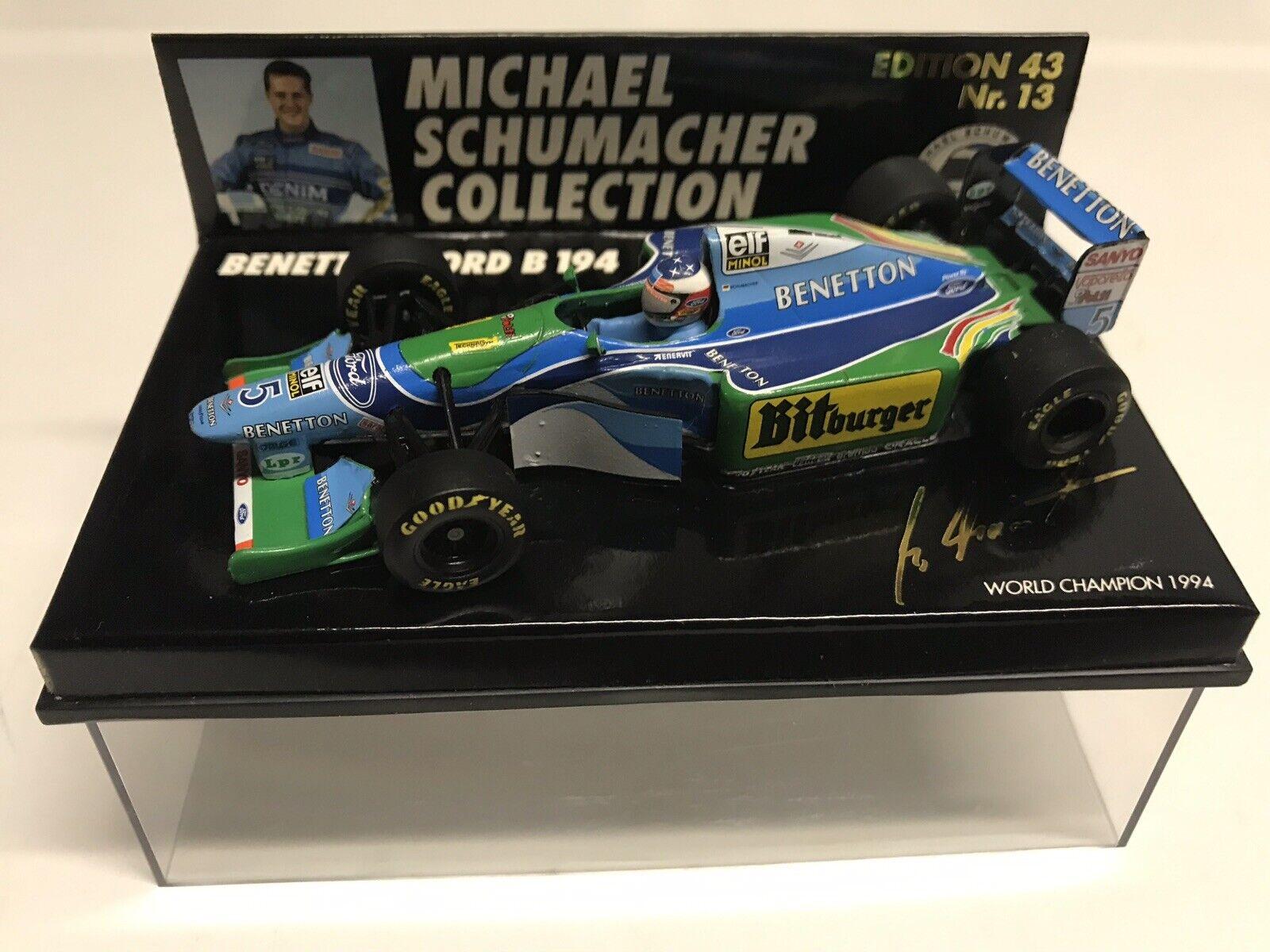 Minichamps M. Schumacher 1994 #5 Benetton Ford B194 World Champion GP 1:43 NIB•