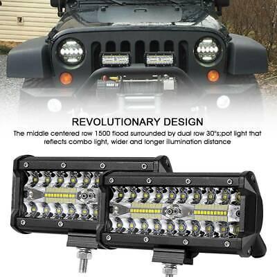 "2X 7/""Inch 480W 12V CREE LED Work Light Bar Truck Spot Flood Foglight SUV 4WD UK"
