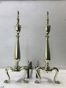 Antique-Vtg-Brass-Fireplace-Andirons-22-034-Chippendale-Empire-Federal-Claw-Feet