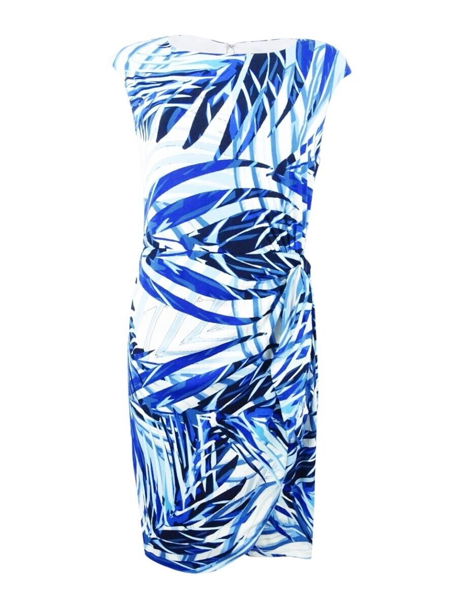 Jessica Howard Women's Petite Side-Tie Palm-Print Dress