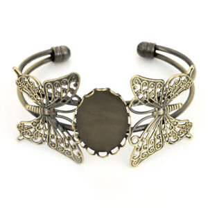 Details about Antique Bronze Copper 18*25MM Blank Oval Trays Cabochon  Butterfly Bracelet DIY
