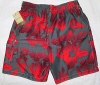 Sonoma Swim Bathing Suit Trunks Gray Red Hibiscus Print 4 Pockets Poly Men M