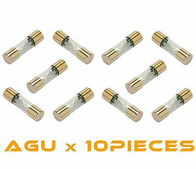 10 PCS 60 AMP AGU GOLD PLATED FUSES 60 AMP ROUND GLASS FUSES- SHIPS  TODAY!