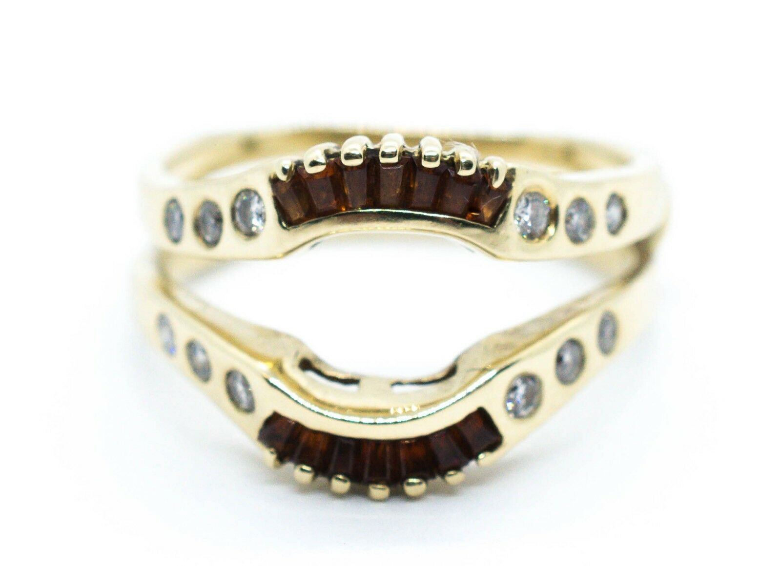 (MA5) Lady's 14K Yellow gold Diamond & Stone Ring .12 ctw 6.6 Grams Size 9.5
