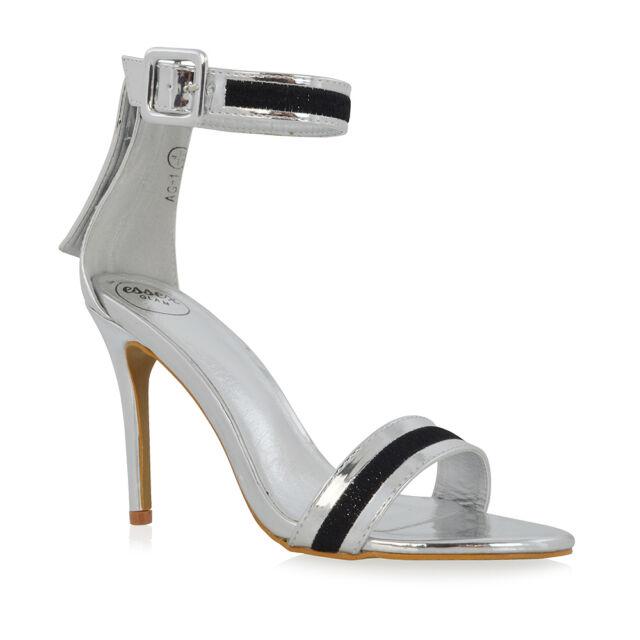 4c1d163d35b Womens Ankle Strap Stiletto Heel Sandals Ladies Thread Detail Party ...