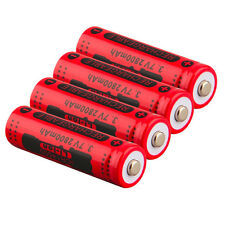 4pcs 14500 3.7V 2800mAh Red Rechargeable Li-ion Battery for LED Torch Flashlight