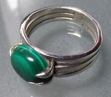 925 silver triple band green malachite ring UK O/US 7.25