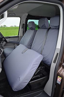 VW Transporter T5 T26 T28 T30 T32 Tailored Waterproof Seat Covers 2003-09 Grey