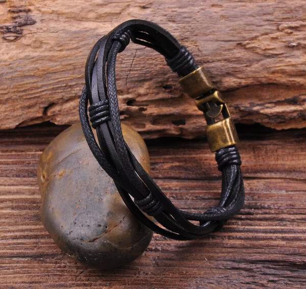 G27 New Surfer Hemp Leather Hand Braided Men's Wristband Bracelet Cuff Black B