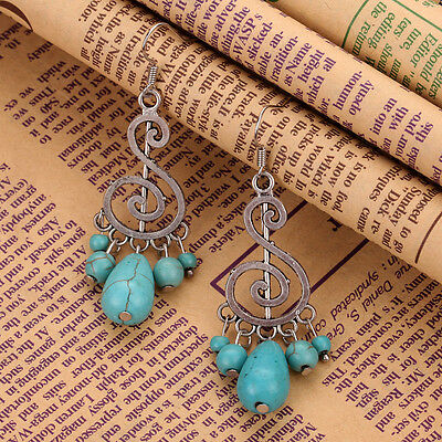 Fashion Jewelry Tibetan Silver Music Symbol note Turquoise bead pendant Earrings