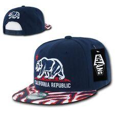 Navy & Red California Republic Cali Zebra Print Flat Snapback Snap Back Cap Hat