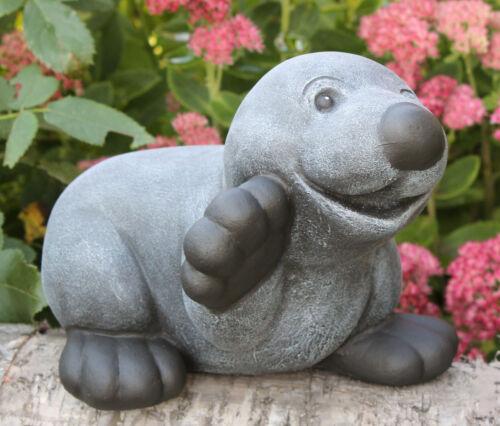 Steinfigur Maulwurf winkend Schiefergrau Gartenfigur Gartendeko Dekofigur