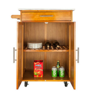 Details about Wood Kitchen Trolley Cart Stainless Steel Top Rolling Storage  Cabinet Island New