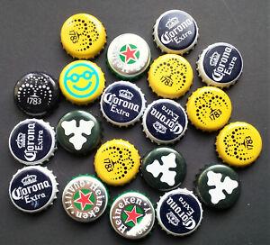 Details about 20 Mixed Bottle Tops Crown Caps Beer Smiley Heineken Corona  Yellow Carlsberg
