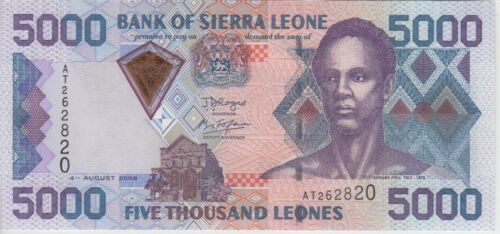 SIERRA LEONE  BANKNOTE P28  5000 5.000 5,000 LEONES 2006 UNCIRCULATED