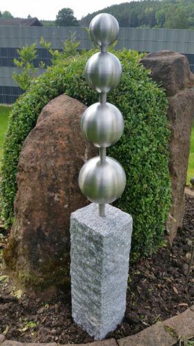 """Edelstahl Granitpalisade /""""Kugelpyramide/"""" ca.83cm mit 4 Kugeln Stelen Garten Deko"""