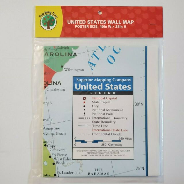 Teaching Tree United States Wall Map - Poster Size 40in W x 28in H - Brand New