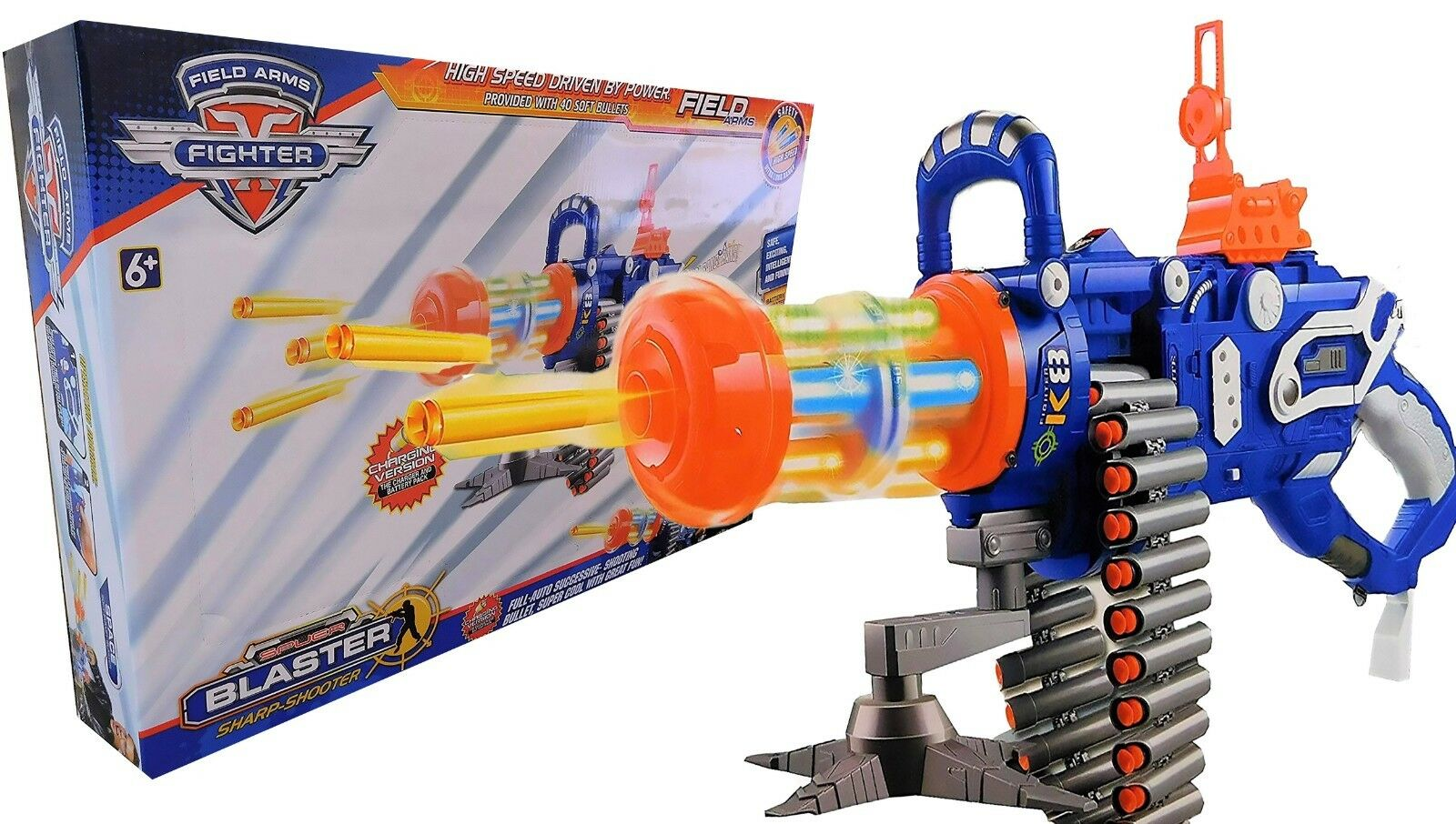Toy Nerf Style Bullets Gatling Gun Rechargeable battery 40 soft suction Bullets