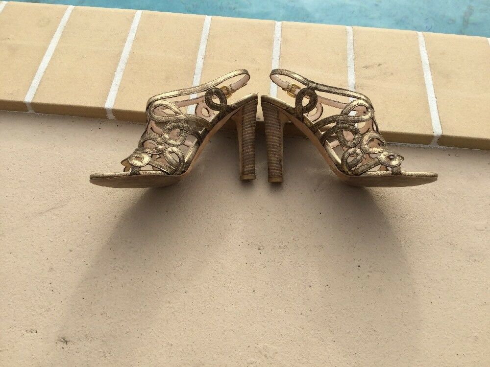PRADA DISTRESSED gold LEATHER LEATHER LEATHER STRAPPY WOOD HEEL SANDALS Sz 35.5M MADE IN ITALY 3b52df