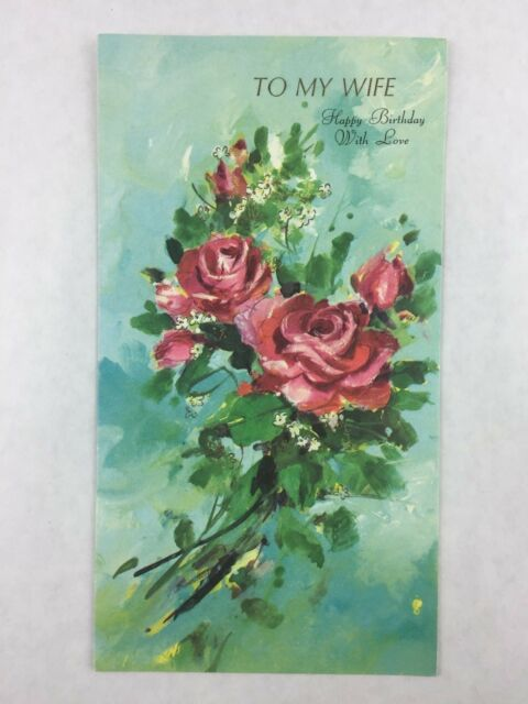 vintage wife birthday card roses gibson new printed in