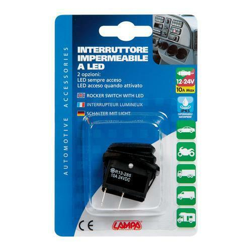 12//24V Interruttore impermeabile con led Blu