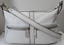 Tignanello White Pebbled Leather Medium Cross Body Shoulder Bag Organizer Purse
