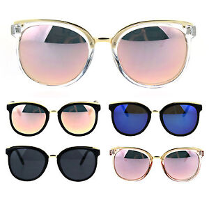 Details about Womens Metal Brow Round Horned Cat Eye Goth Chic Diva  Sunglasses