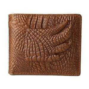 Real Leather 100% Genuine Skin Crocodile Alligator Bifold Mens Brown Wallet