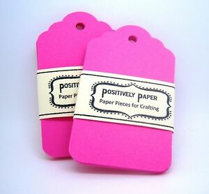 100-Blank-Scallop-Gift-Hang-Price-Tags-Hot-Pink-Neon-Cardstock