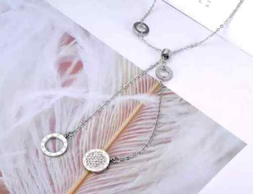 Womens Roman Numbers Silver Stainless Seel Necklace Crystal Pendant Chain Gift