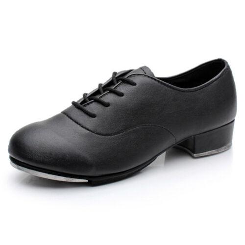 Pop Men Tap Dance Shoes Male Faux Leather Lace Up Solid Performance Footwear