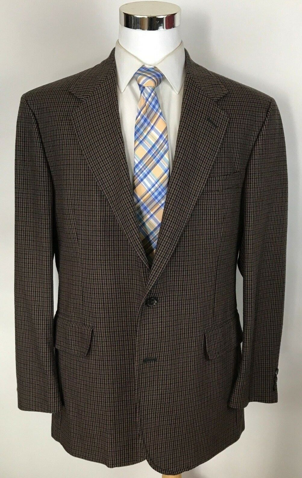 Pendleton Classic Braun Multi-Farbe Houndstooth Country Blazer Sport Coat 44L