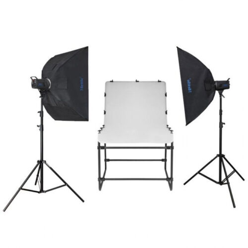 METTLE Studioset NEWPORT mit Fototisch Aufnahmetisch und Studioblitz 2x200 WS