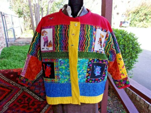 Vintage LAURA BURCH  Coat Jacket  Quilted Patchwor