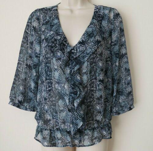 Next Women/'s Blouse haut imprimé bleu taille 8