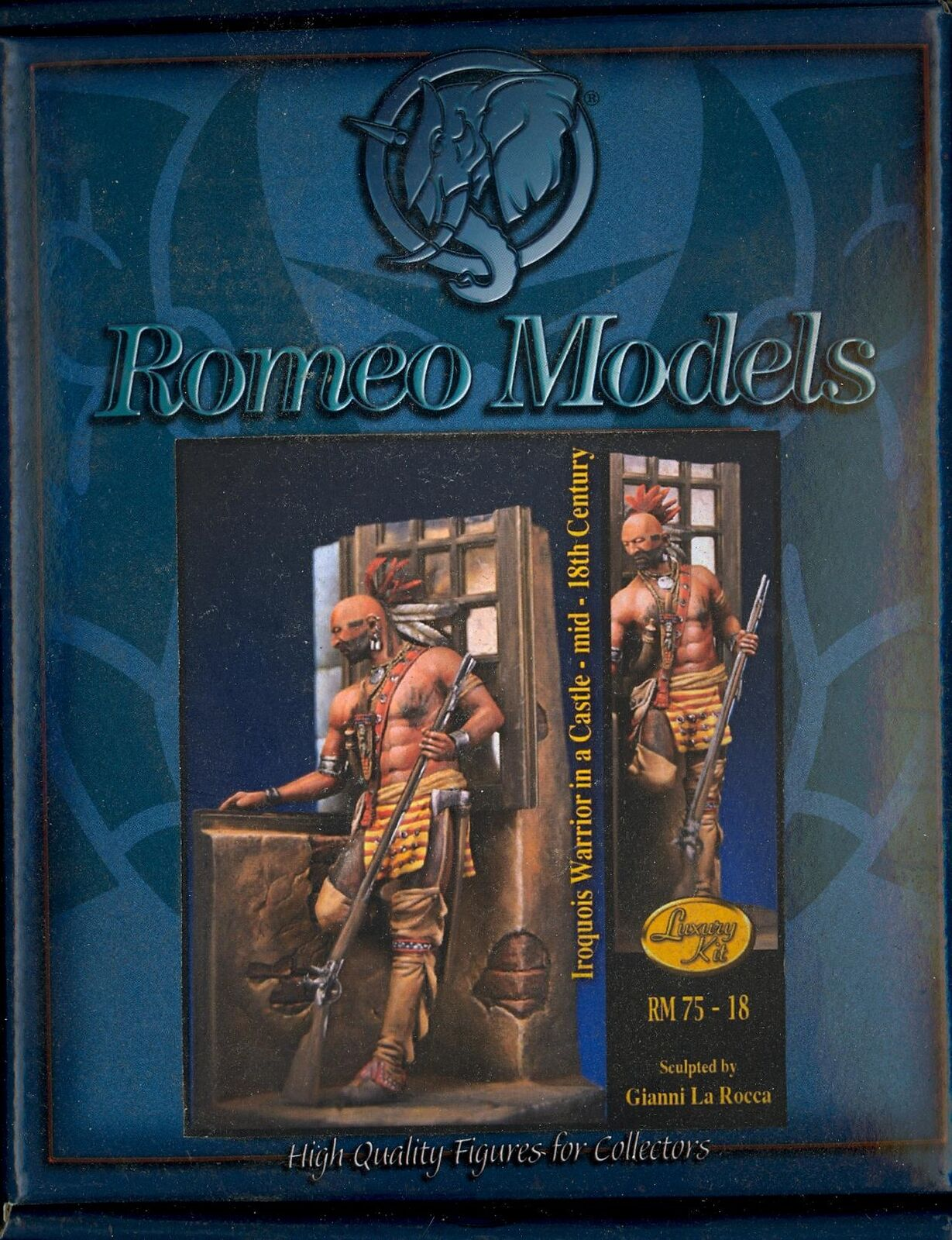 Romeo Models 75mm IROQUOIS WARRIOR IN A CASTLE Mid-18th Century Metal Figure