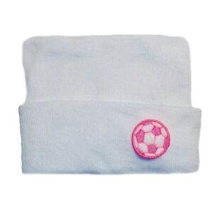 58b19d8e3d0 Pink Soccer Ball Baby Girl Hospital Hat. 4 NICU Preemie Newborn ...