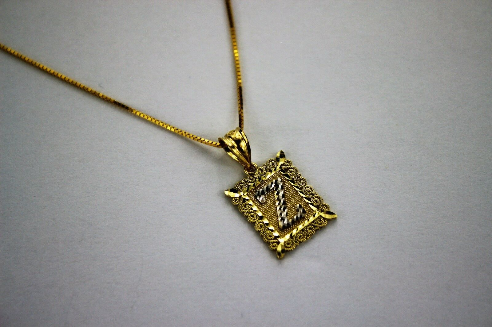 10K gold Initial Pendant Charm Boy Men and or Box Chain