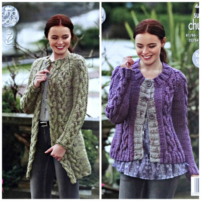 Knitting Pattern Ladies Long Sleeve Cable Cardigan Super Chunky King