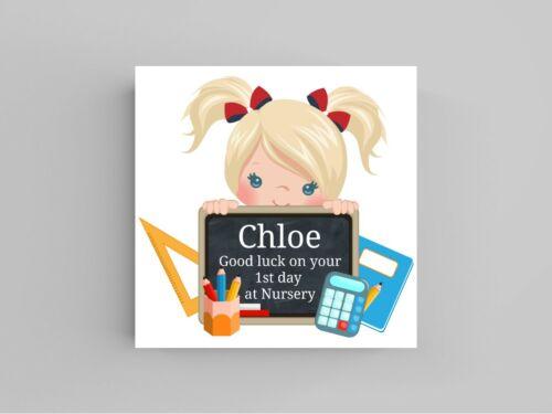 Personnalisé Bonne Chance carte Premier 1st Jour à l/'école maternelle Carte Retour à Girl