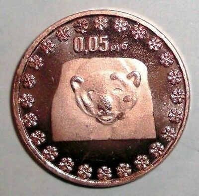 Hare animal wildlife coin 0,25 py6 2014 North Pole Russia Bunny Rabbit