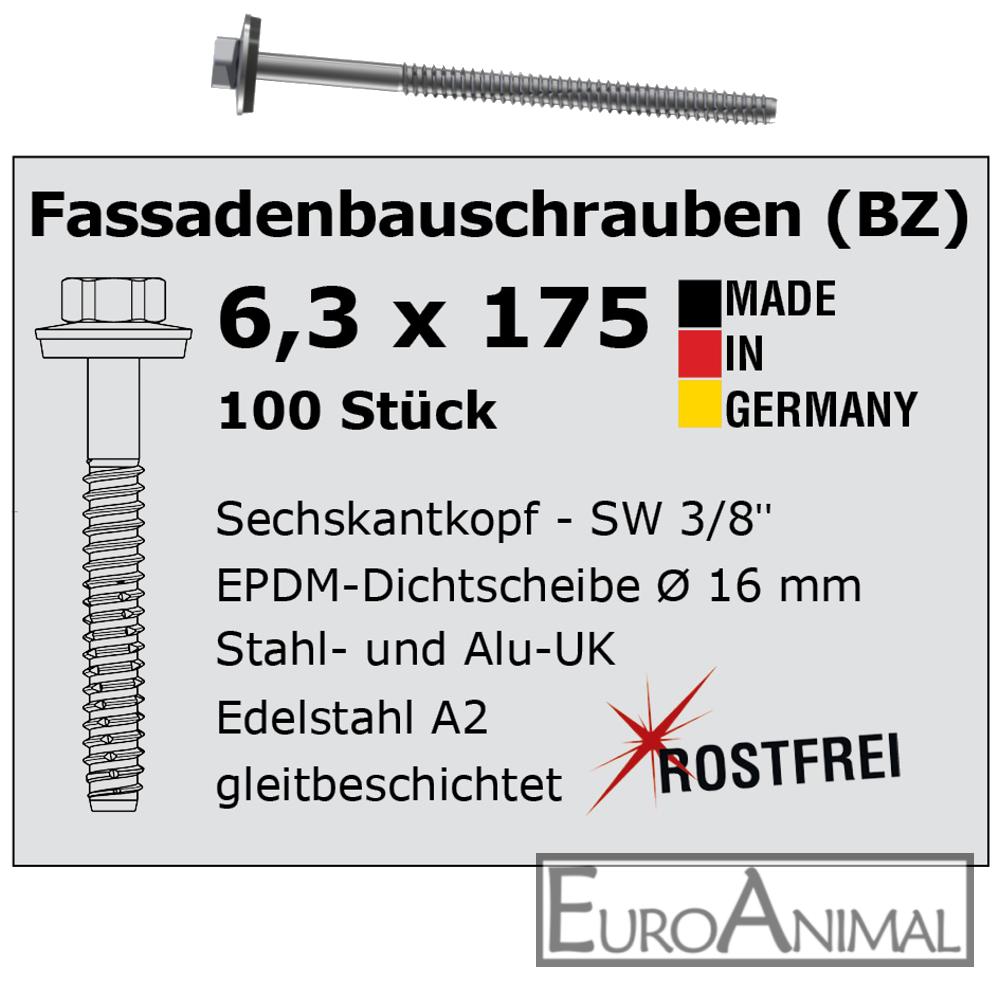 Schrauben für Trapezblech V2A 6,3x175  E16 Typ BZ Fassadenbauschrauben Edelstahl