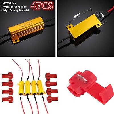 4PCS 6ohm 12V 50W LED Load Resistors  w//T-Tap Turn Signal Fog Lights Fix Flash
