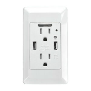 High-Speed-Dual-USB-Charger-Wall-Outlet-4-2A-Receptacle-w-Smart-Auto-Nightlight