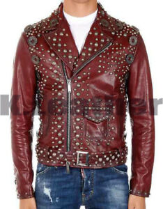 47d89cc29 Details about New Mens Maroon Multi Gun Metal Studded Biker Leather Jacket  All Sizes
