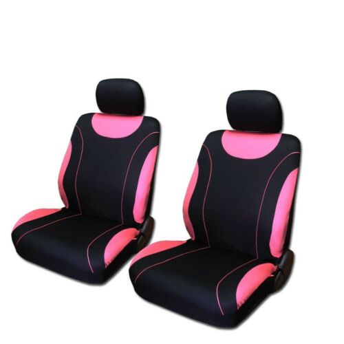 For Kia New Flat Cloth Black and Pink Front and Rear Car Seat Covers Set