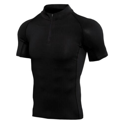 Men/'s Compression Mock Baselayer Athletic Workout T Shirt Dry fit Short Sleeve